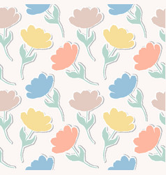 Pattern with paper tulips vector