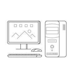 personal computer line art simple gadget icon vector image