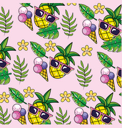 pineapple with sunglasses and tropical plants vector image