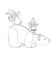 polar bear and penguins coloring page vector image