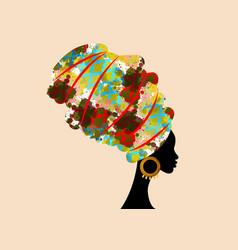 Portrait beautiful african woman in turban vector
