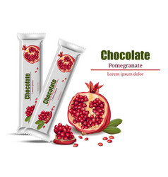 Realistic pomegranate chocolates mock up vector