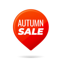 Red pin on white background autumn sale vector