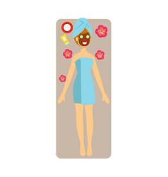 Relaxed woman with chocolate face mask applied to vector