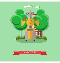 Robot taxi flat design vector