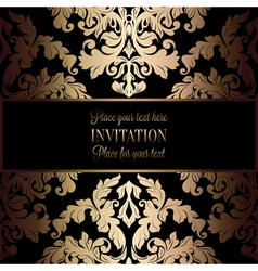 Rococo background with antique luxury black and vector