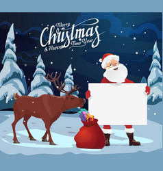 santa with blank sign christmas gifts reindeer vector image