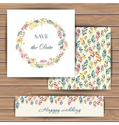 Save date card with feather vector