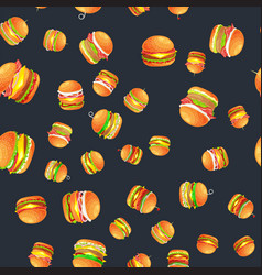 Seamless pattern tasty burger grilled beef and vector