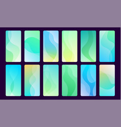 set 16 abstract blue and green wave mobile vector image