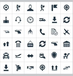 Set of simple logistics icons vector