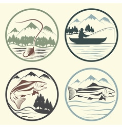 set of vintage labels with fishing theme vector image