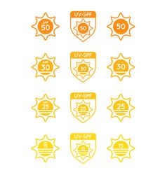 Set sun protection uv index spf 50 spf 30 25 vector