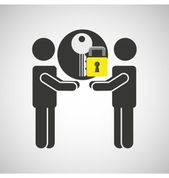 silhouette men key internet safety vector image