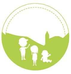 Silhouette of happy kids in logo art vector