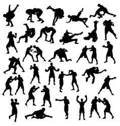 Silhouette Sports Boxing and Wrestling vector image