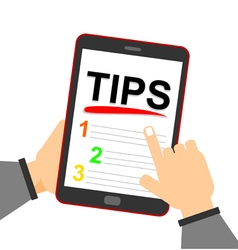 smartphone with Tips text on display vector image