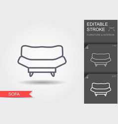 sofa line icon with editable stroke with shadow vector image