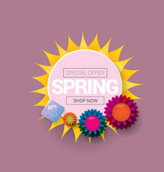 spring sale label with beautiful flowers vector image vector image