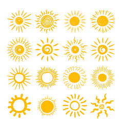 sun hand draw icon set vector image