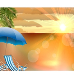 Sunset background on beach vector