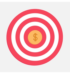 Target with big dollar coin Flat design vector image