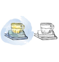 watercolor cup on books drawing vector image