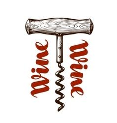 Wine corkscrew vector image