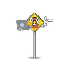 With laptop traffic light ahead on cartoon vector