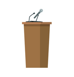 Wooden podium tribune stand with microphones vector