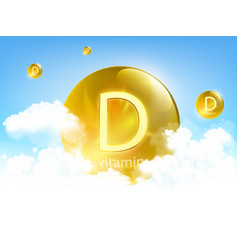 yellow pill vitamin d against blue sky with clouds vector image