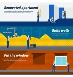 Apartment building flat horizontal banners set vector