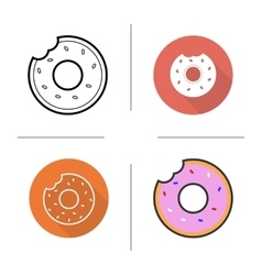 Donuts flat design linear and color icons set vector image vector image