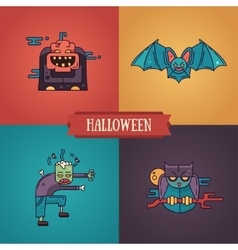 Halloween characters line flat design modern icons vector image