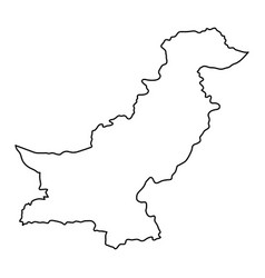 pakistan map of black contour curves on white vector image vector image