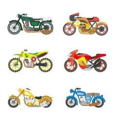 Set of flat motorcycles vector image