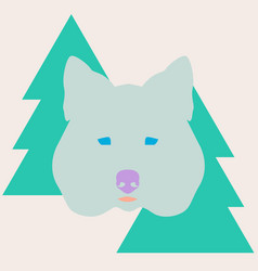 stylish wolf head between christmas trees vector image vector image