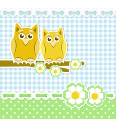 Romantic background with owls on blossoming branch vector image vector image