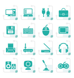 stylized computer equipment and periphery icons vector image vector image