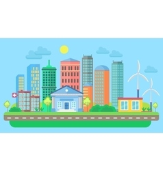 Urban and village landscape with buildings and vector image