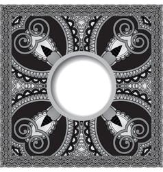 grey floral round pattern in ukrainian oriental vector image