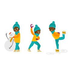 kids having fun outdoors in winter set vector image vector image