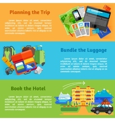 Travel planning booking flat banners set vector image
