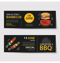 Barbecue invitation party template flat design set vector