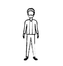 Figure handsome man with beard and elegant wear vector