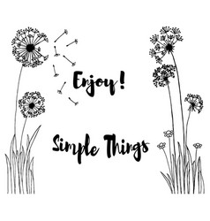 hand drawn of wild flowers with enjoy simple vector image vector image