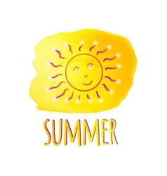 watercolor sun summer watercolor yellow blot vector image vector image