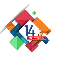 14 years anniversary design colorful square style vector