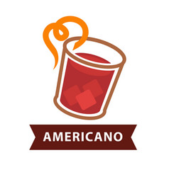 Americano cocktail in glass with straw isolated on vector