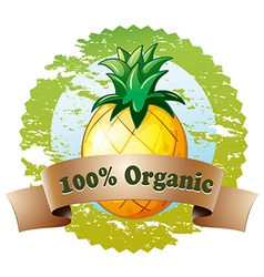 An organic label with pineapple fruit vector
